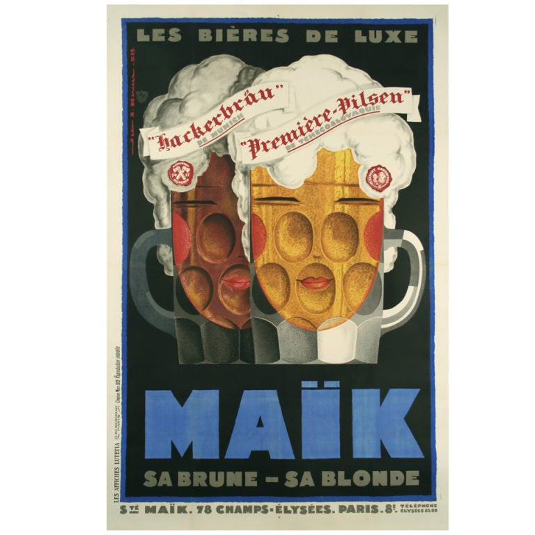 original deco period poster by jean mercier 1929 at 1stdibs