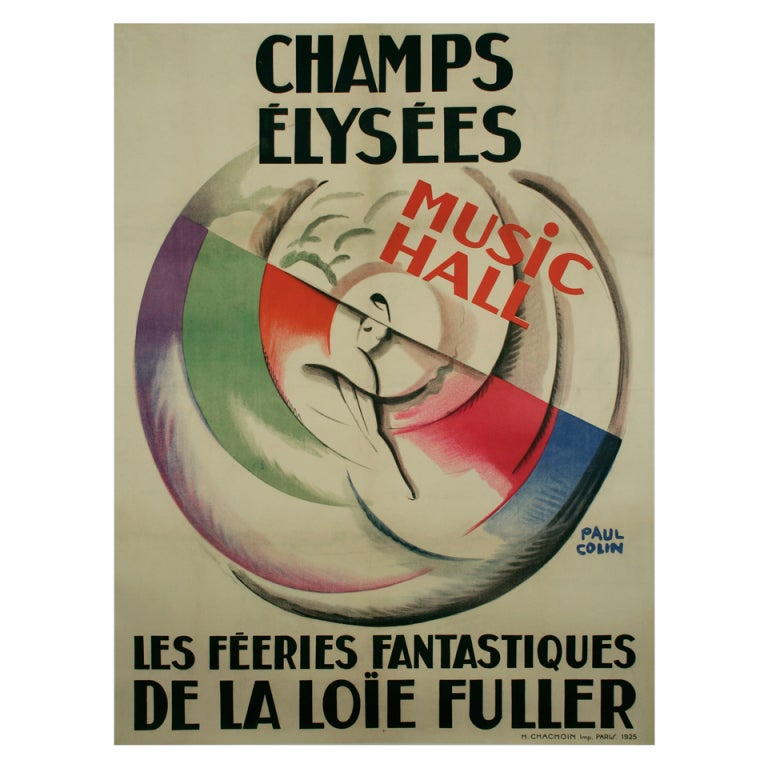 French art deco period loie fuller poster by paul colin for Art deco era dates