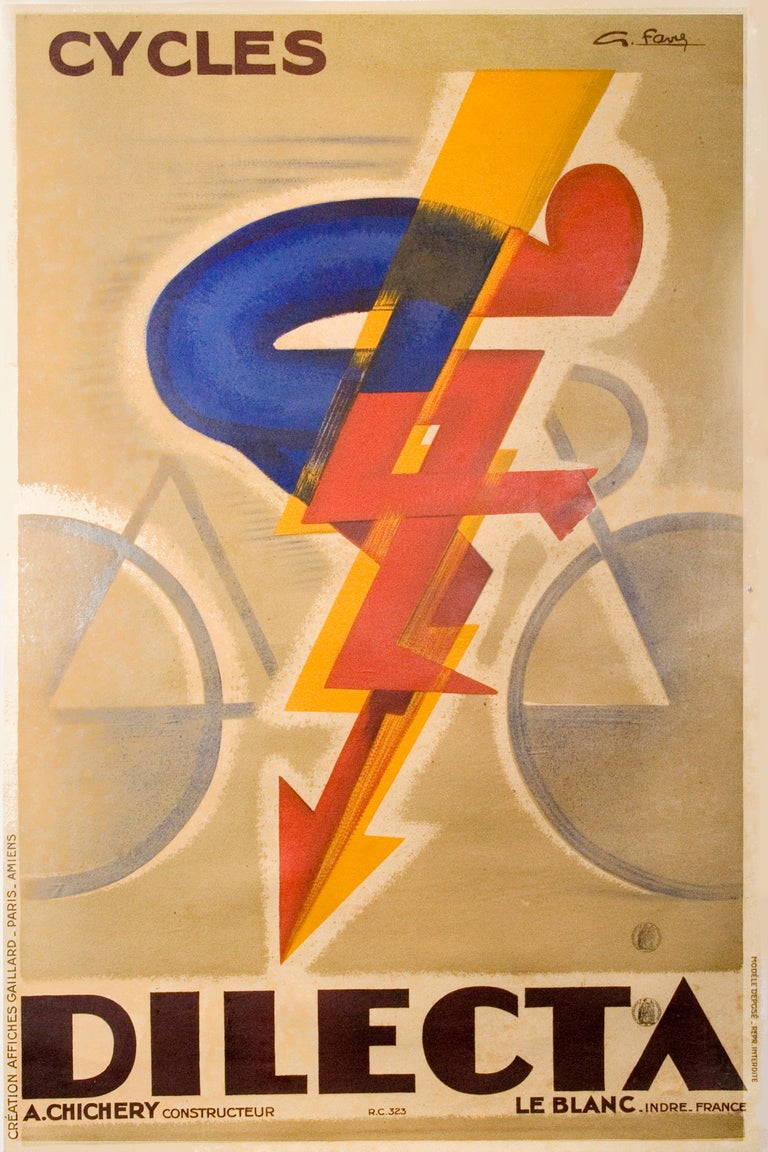 Original french art deco period bicycle poster by favre for Art deco era dates