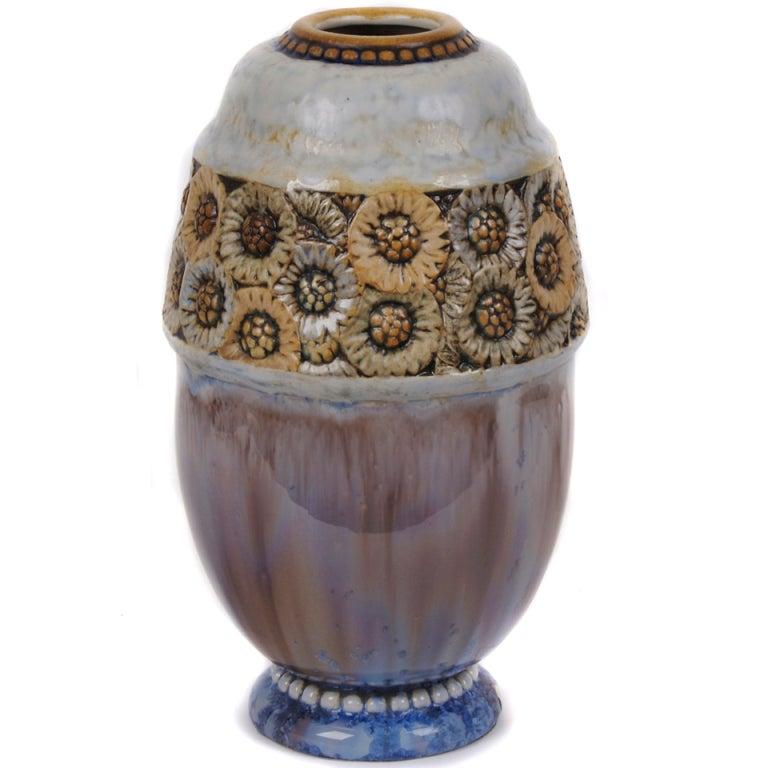 French Art Deco Period Sunflower Vase By Joseph Mougin
