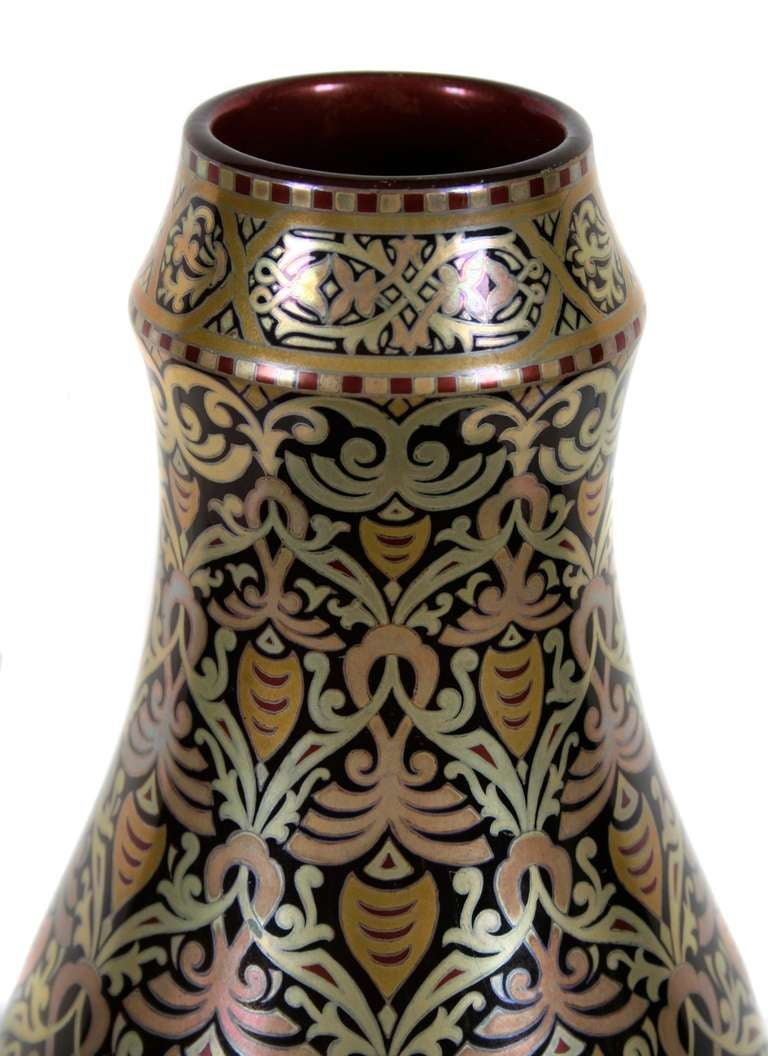 Hungarian Eosin Glazed Vase by Zsolnay, Late 19th Century 2