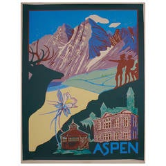 """Aspen,"" an American Travel Poster by Ellen Lanyon, 1994"