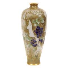 Austrian Art Nouveau Period Portrait Vase by Amphora, circa 1892-1904