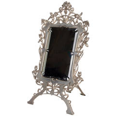 Early 20th Century Silvered Metal Table Mirror with Iris Motif