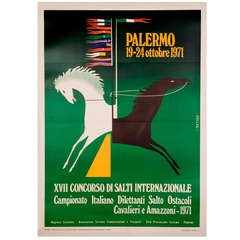 Vintage Italian Horse Jumping Competition Poster, 1971