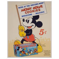 Vintage American Mickey Mouse Poster, 1937
