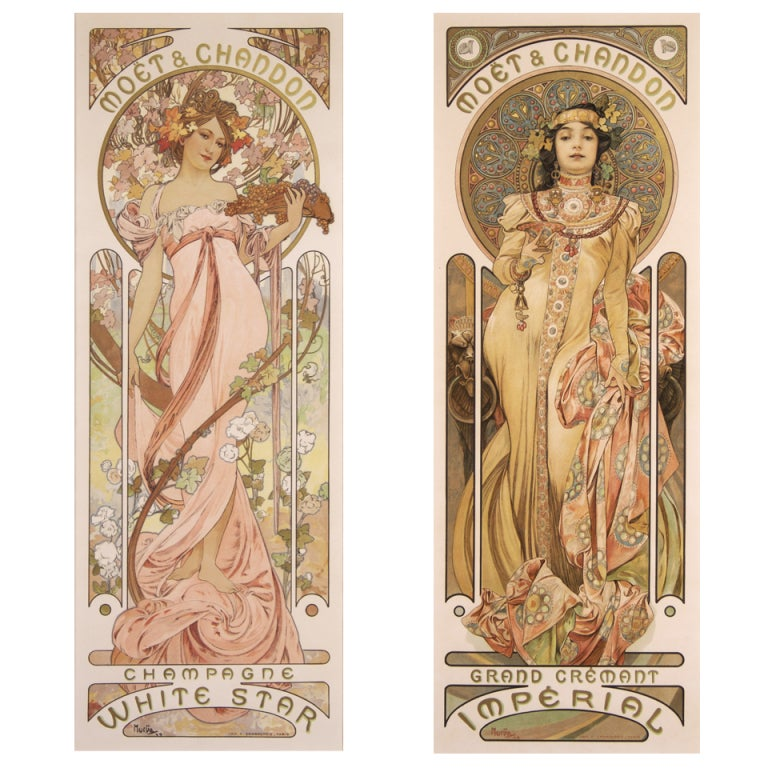 Pair of Original French Art Nouveau Period Posters by Alphonse Mucha 1