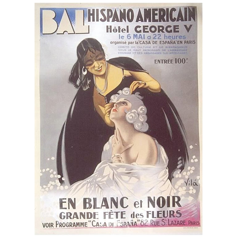 French Art Deco Period Event Poster by Emilio Vila, 1930 ...