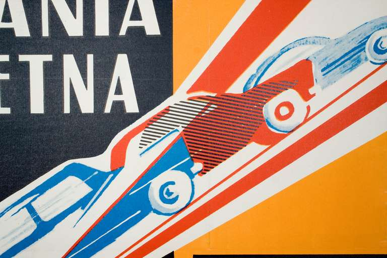 Vintage Italian Car Race Poster by Rubino, 1960 For Sale ...