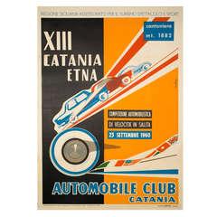 Vintage Italian Car Race Poster by Rubino, 1960