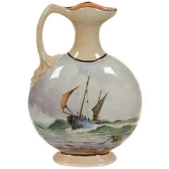 English Hand-Painted Ceramic Vessel by Bretby Art Pottery, circa 1891-1900