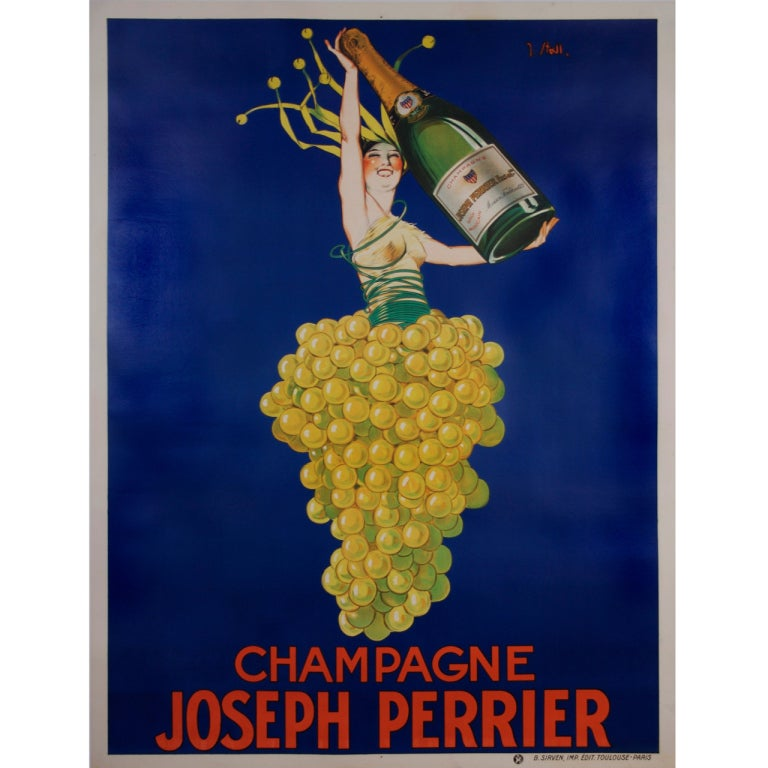 Original french art deco period champagne poster by stall for Art deco era dates