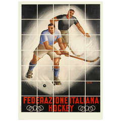 Vintage Italian Hockey Federation Poster by Barbi, circa 1940s