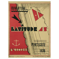 French Art Deco Period Poster for Latitude 43 by G. H. Pingusson, 1936