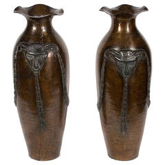Pair of Hammered Copper Rams Head Vases, Early 20th Century