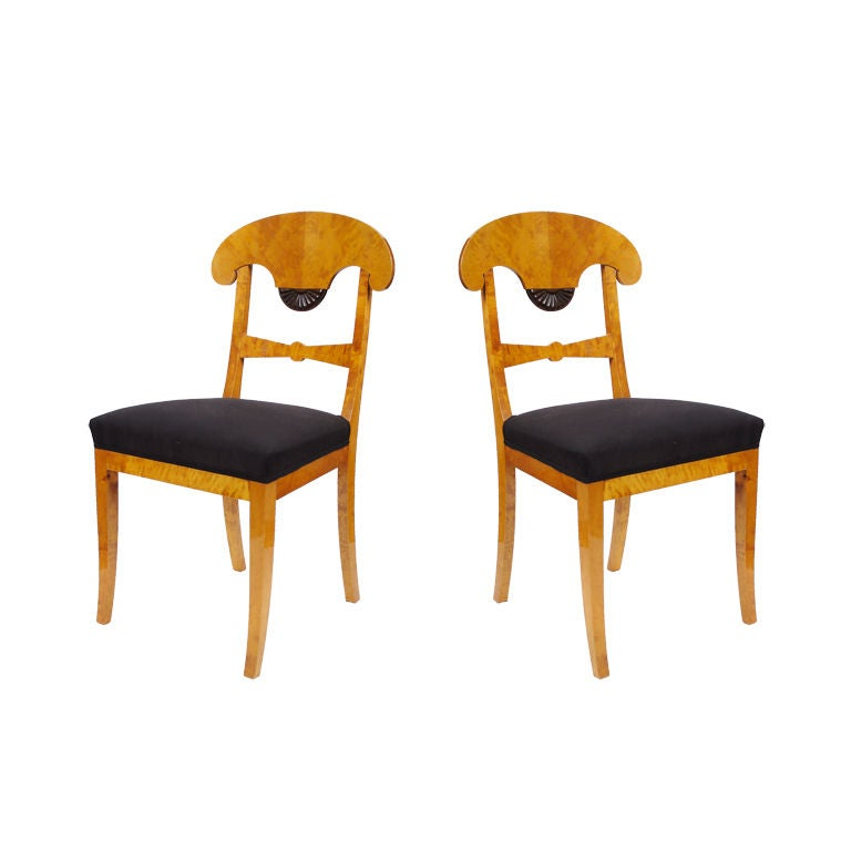 Pair Of Swedish Biedermeier Side Chairs C 1840 At 1stdibs