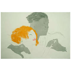"""French Art Deco Period """"Dance"""" Lithograph by Marcel Vertes, 1924"""