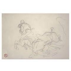 Original Pencil Drawing of Horses by Henri de Toulouse-Lautrec, 1881