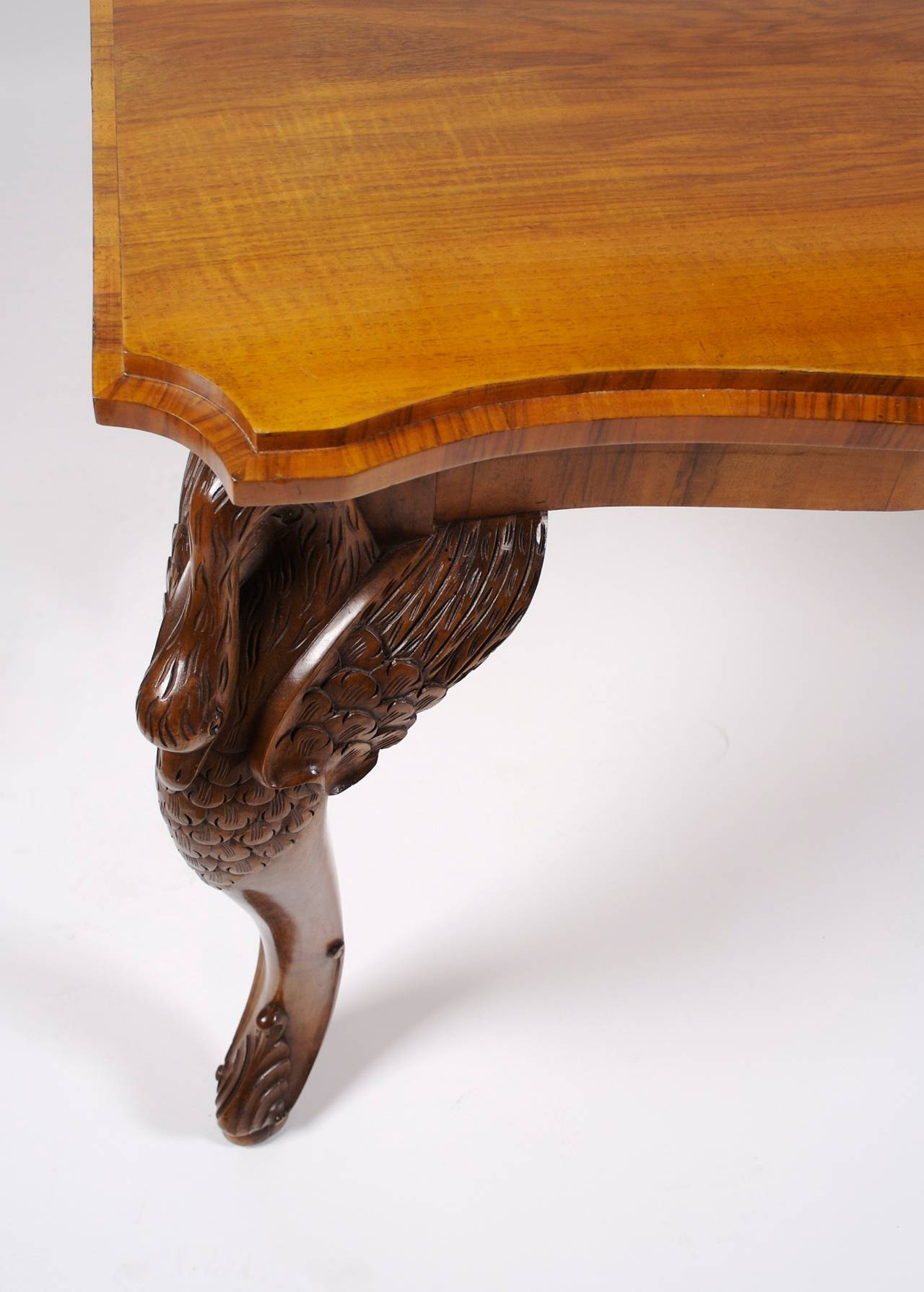 French Art Deco Period Carved Mahogany Quot Swan Leg Quot Table