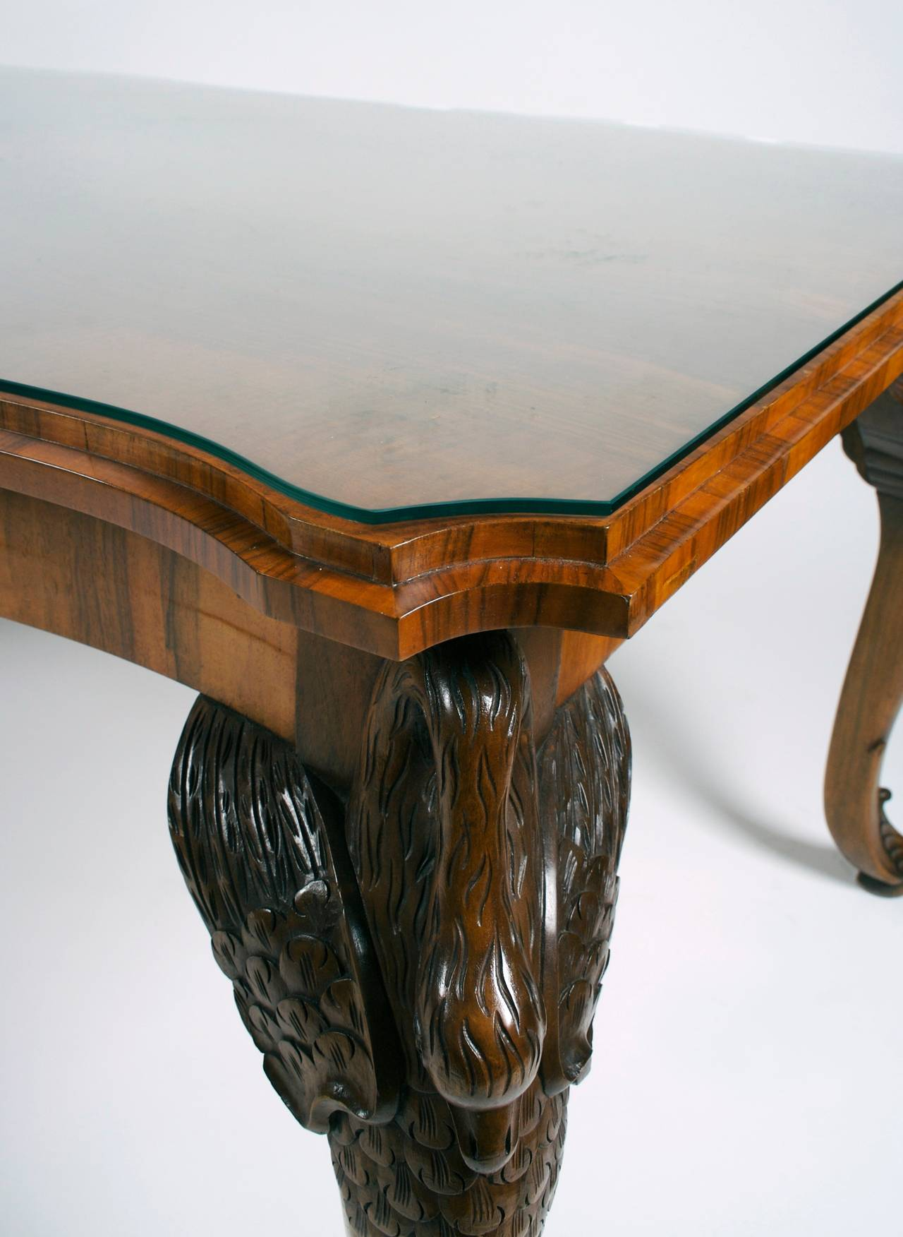 "French Art Deco Period Carved Mahogany ""Swan Leg"" Table circa"