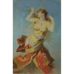 Original Pastel by Jules Cheret, France, circa 1900