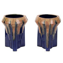 Pair of French Art Deco Period Ceramic Vases in the Style of Mougin