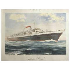 """Italian Poster for Ocean Liner """"Andrea Doria"""" by Giovanni Patrone, circa 1953"""