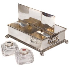"George V Silver ""Treasury"" Inkstand by Charles and Richard Comyns, 1924"