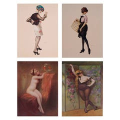 Set of Four French Lithographs from the L'Estampe Galante, 1916