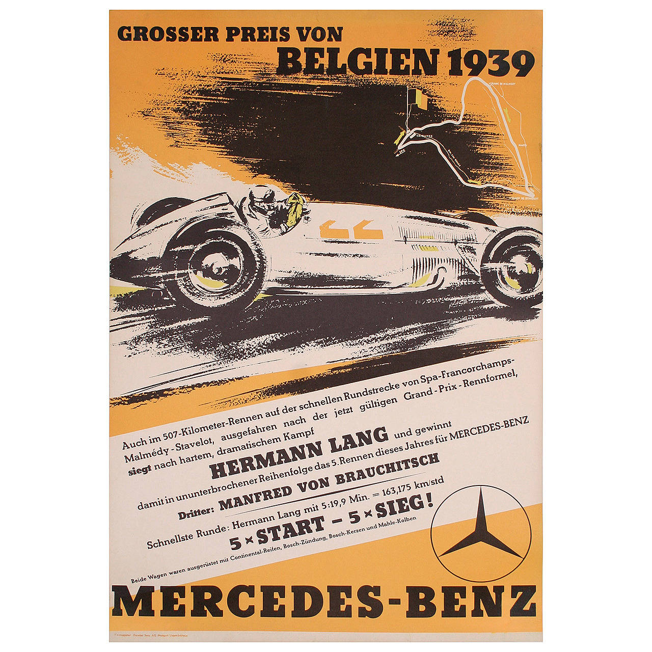 Mercedes benz belgian grand prix victory poster 1939 for for Mercedes benz poster