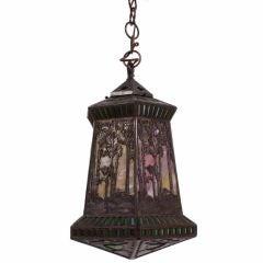 American Art Nouveau Period Teroca Sunset Palm Hanging Lamp by Handel, c. 1900