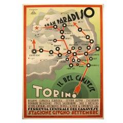 """Gran Paradiso,"" Italian Futurist Period Poster by Diulgheroff, 1930"