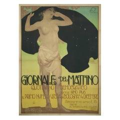 """""""Giornale del Mattino,"""" an Italian Art Nouveau Period Poster by Terzi, 1911"""