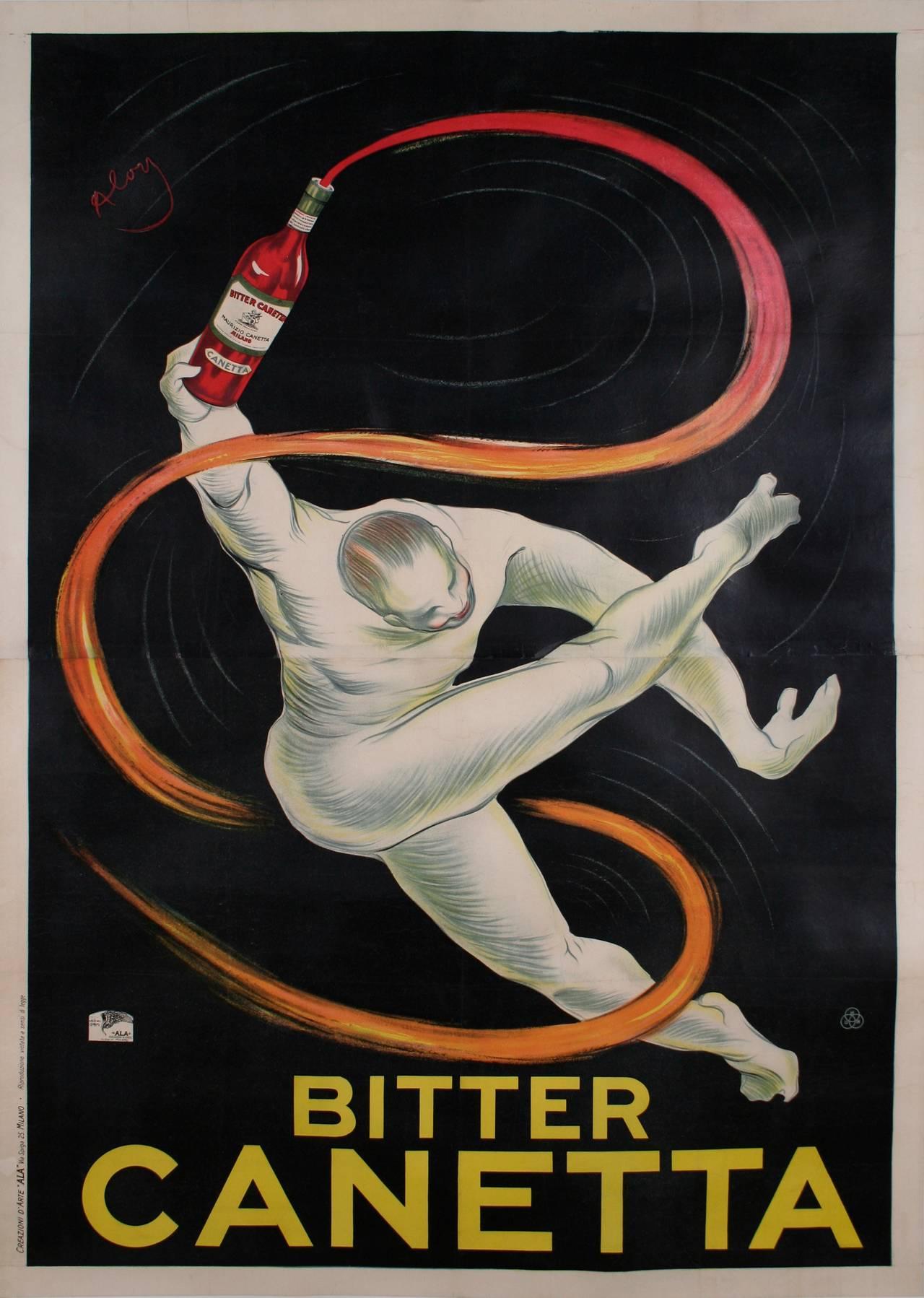 """Bitter Canetta,"" an Italian Art Deco Period Liquor Poster by Roberto Aloy, 1925 2"