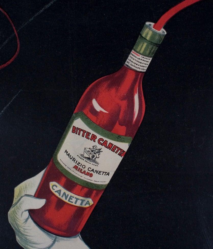 """Bitter Canetta,"" an Italian Art Deco Period Liquor Poster by Roberto Aloy, 1925 4"