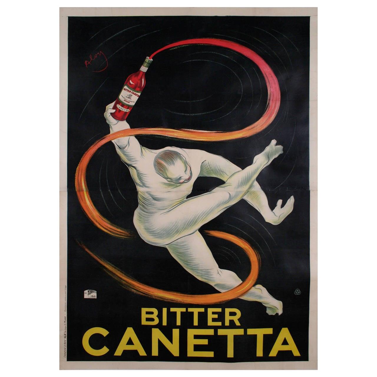 """Bitter Canetta,"" an Italian Art Deco Period Liquor Poster by Roberto Aloy, 1925 1"