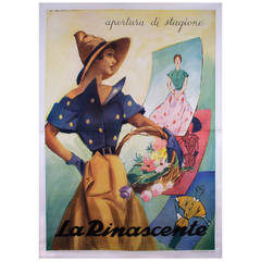 Mid-Century Italian Fashion Poster by Marcello Dudovich, 1950