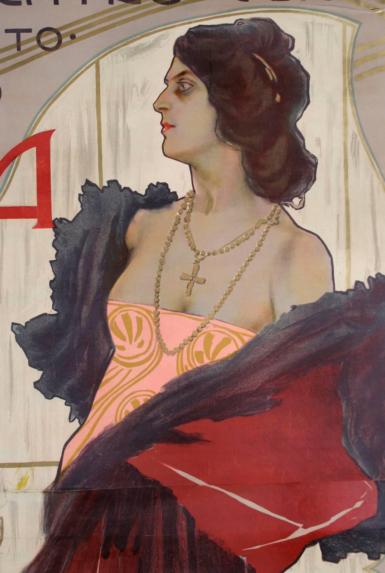 Italian Art Nouveau Period Opera Poster by Marcello Dudovich, 1899 2