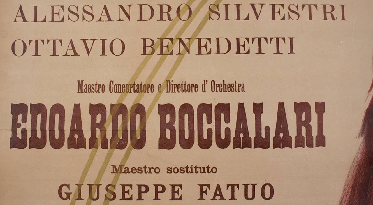 Italian Art Nouveau Period Opera Poster by Marcello Dudovich, 1899 6