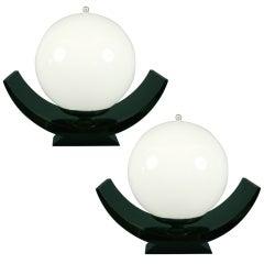 Pair of Mid-Century Italian Black Lacquered Globe Lamps, circa 1950s