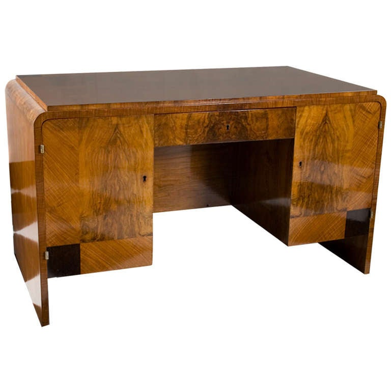 "French Art Deco Period Walnut ""Waterfall"" Style Desk with"