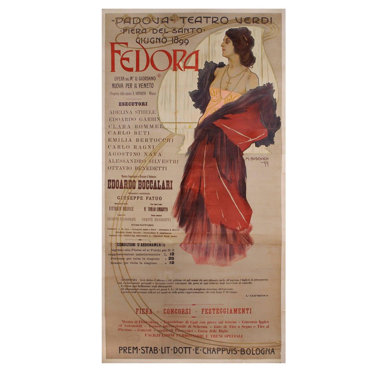 Italian Art Nouveau Period Opera Poster by Marcello Dudovich, 1899 1