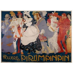 Spectacular Italian Theatre Poster by Metlicovitz, 1907, Six Sheets