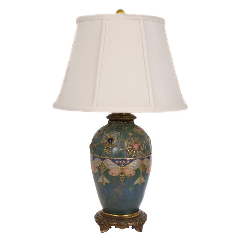 austrian art nouveau table lamp with converted amphora vase circa 1