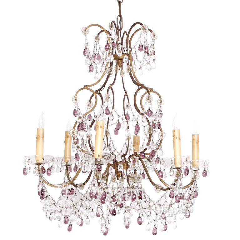 Italian crystal candelabra chandelier For Sale at 1stdibs