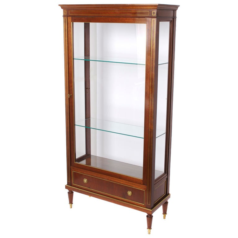 Streamlined french charles x style mahogany display for Antique display cabinet