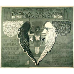 Italian Liberty Period Poster by Mataloni for Black and White Art Exhibit, 1902