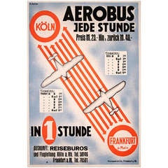 German Art Deco Period Air Travel Poster by Heise, circa 1930
