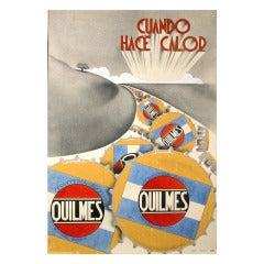 """Original Gouache """"Maquette"""" for Quilmes Beer Advertisement, c. 1920s"""