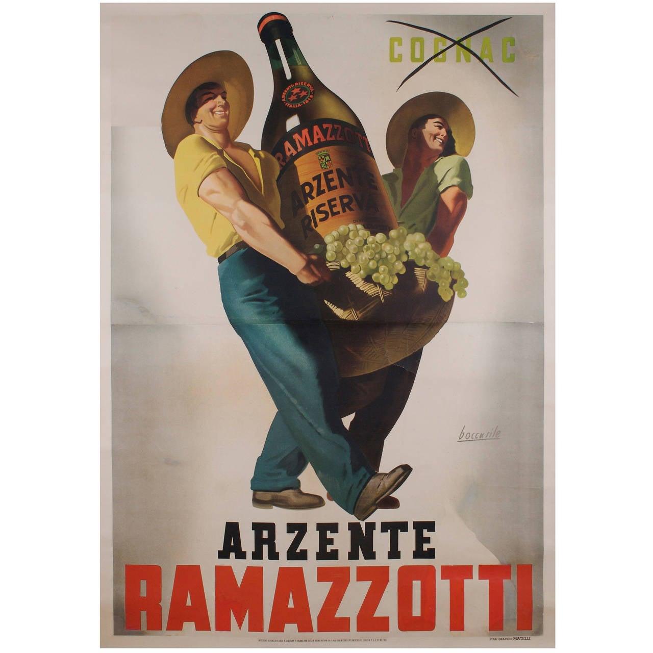 Large Italian Liquor Poster by Gino Boccasile, circa 1940 1